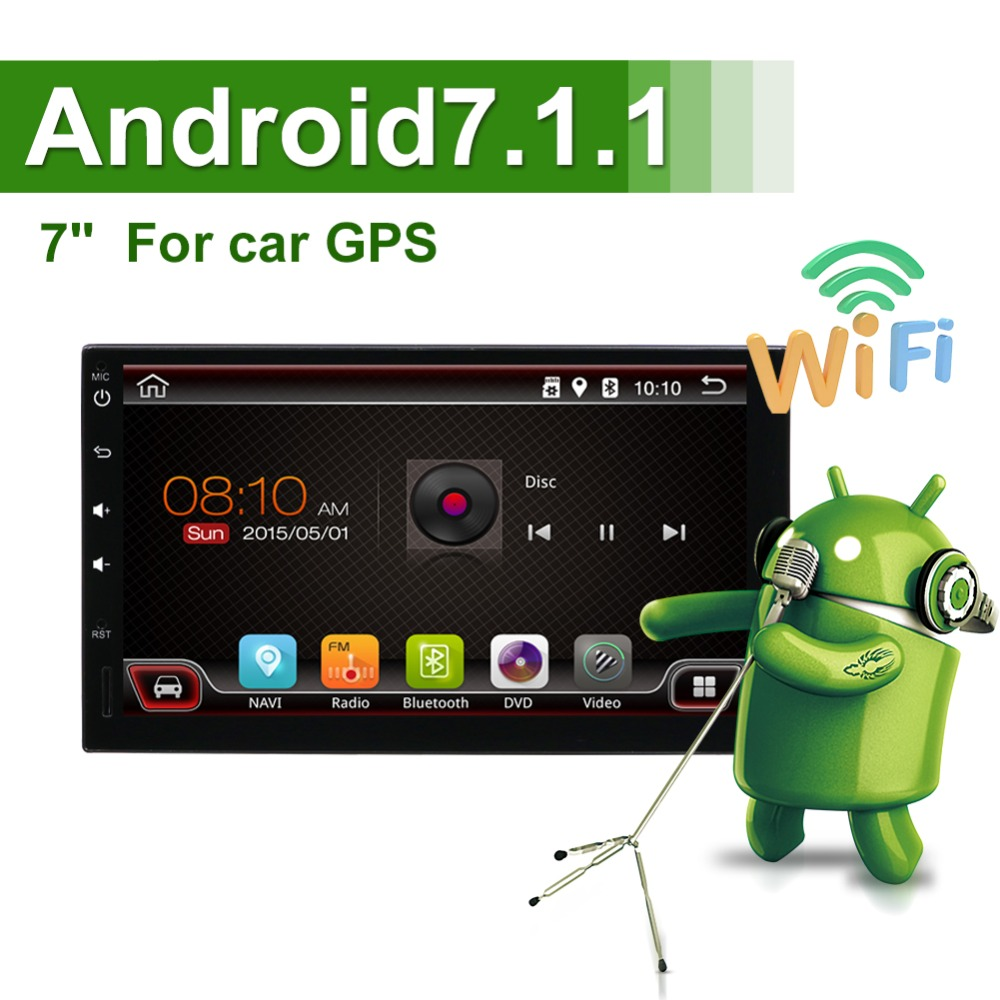 купить 2 din Android 7.1 Car Stereo Quad Core GPS Navigation Auto Radio (AM/FM/RDS) Mirror Link 7 inch Touch Screen по цене 4672.65 рублей