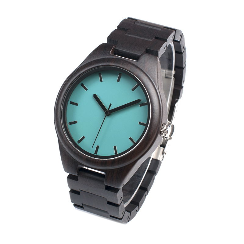 BOBO BIRD Wood Watch Blue Face Quartz Movement Ebony Wooden Strap Men Wristwatch relogio masculino B-I21 bobo bird bamboo wood quartz watch men women japanese majoy movement soft silicone strap casual ladies watch wristwatch for gift