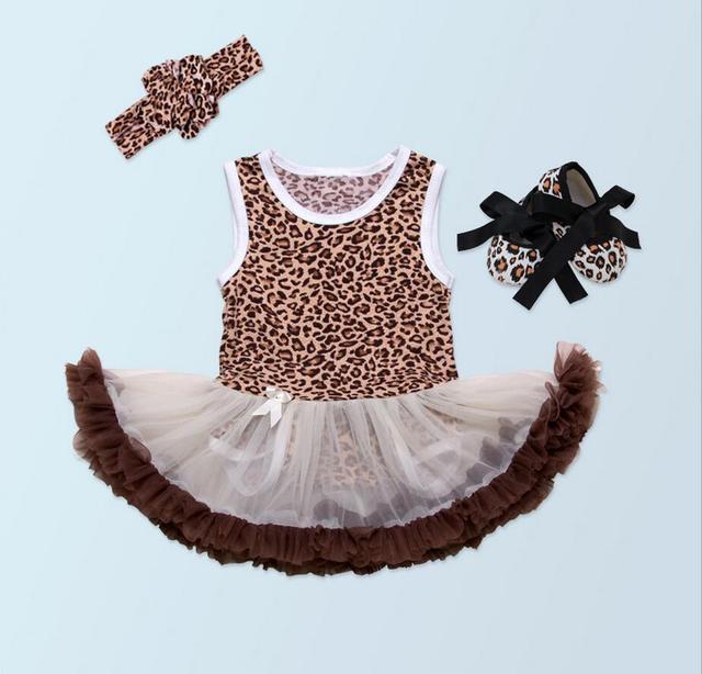 4851a48bb4a7 Pinkbabi Baby Rompers 3PCs per Set Leopard Baby Girl Tutu Dress ...
