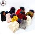 Тролли Красочные Меховым Помпоном Шапочка Hat Женщины Осень Зима Теплая Шапочки с Большой Мех Енота помпон Skullies