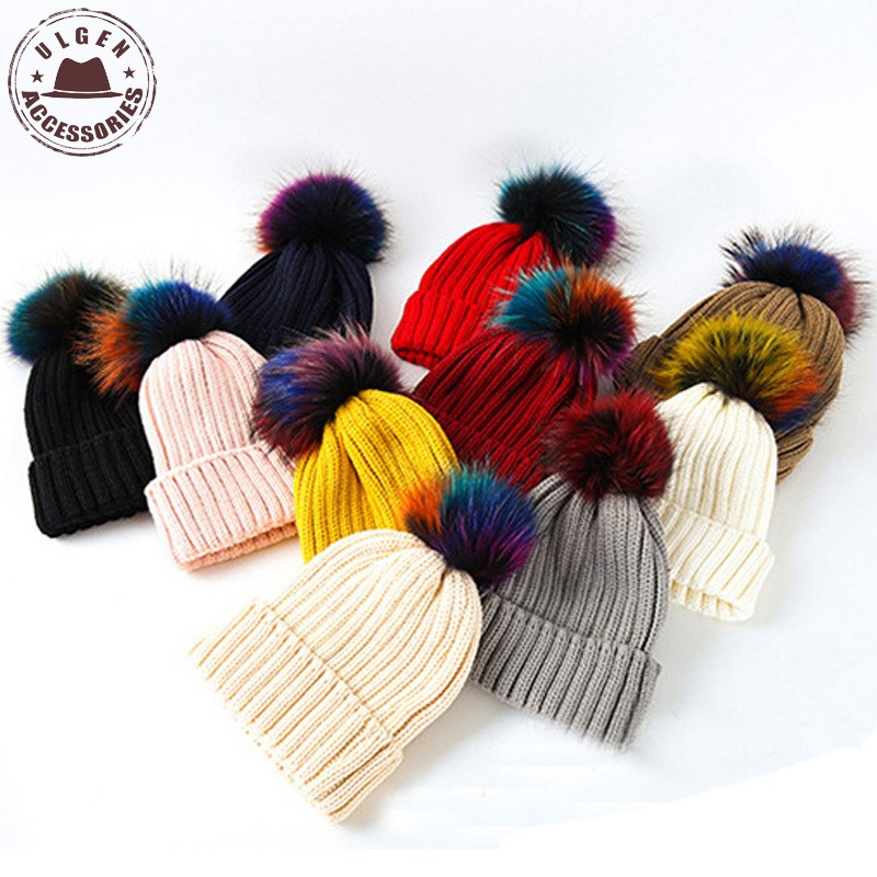 Trolls Colorful Fur Pompom Beanie Hat Women Autumn Winter Warm Beanies with  Big Raccoon Fur pompom Skullies-in Skullies   Beanies from Women s Clothing    ... 414d64a9c683