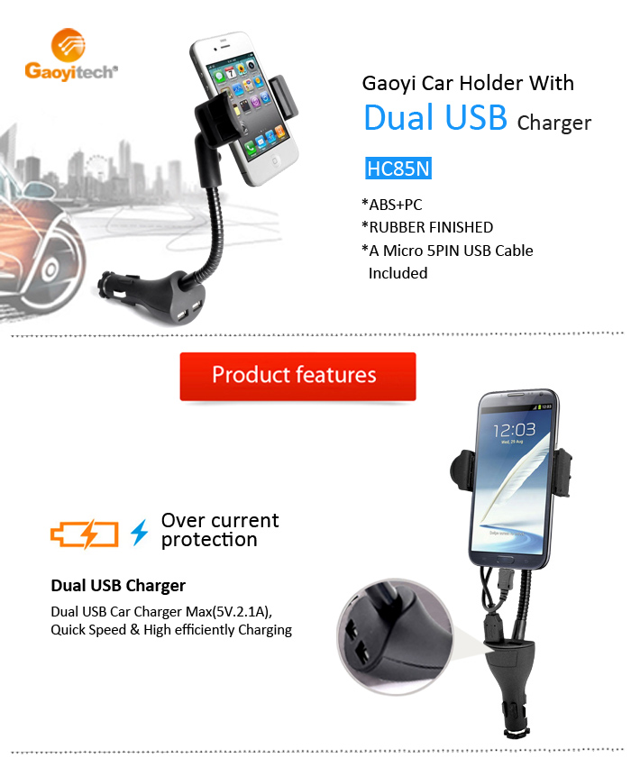 China Factory usb car charger adapter car phone mount car charge with cable(HC84N)