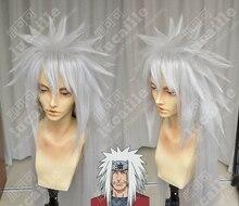 Anime Naruto Jiraiya Cola de Caballo larga y blanca, resistente al calor, pelucas de cabello Sythentic, Cosplay + gorro para peluca