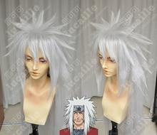 Anime Naruto Jiraiya Long White Ponytail Heat Resistant Sythentic Hair Cosplay Costume Wigs + Wig Cap