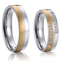 Versprechen paar ringe hochzeits-bänder sets gold farbe titan stahl schmuck designs 2016