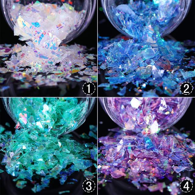 Nail Art Glitter Sequins Irregular Paillette Flakes Fluorescent Glass Paper Nail Flakies Sticker Decal for Nail Art Decoration