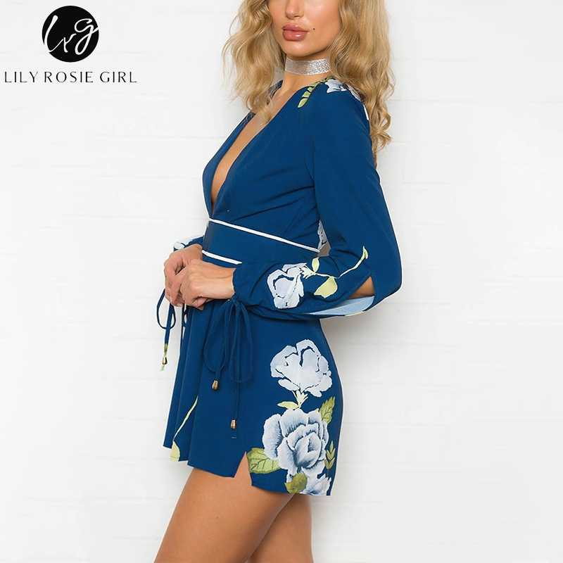 15eec3b8f4 ... Lily Rosie Girl Boho Beach Summer Playsuit Ruffle Print Floral Women  Playsuit Deep V-neck