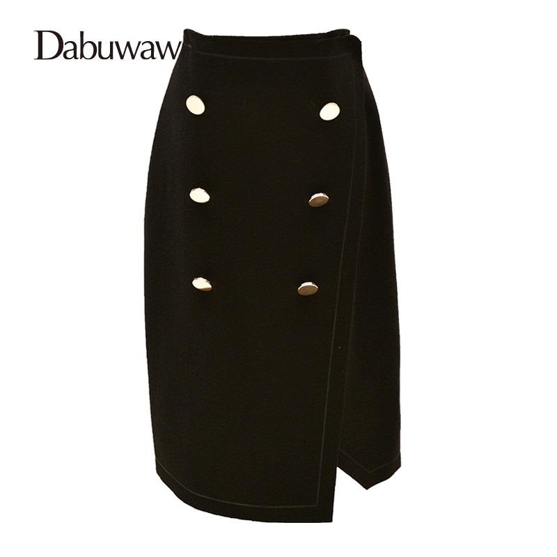 Dabuwawa Brand Autumn Black Woolen Skirt High Waist Office Work Midi Skirt Knee-Length Elegant Skirt Faldas Elegantes #D16DSK006 dabuwawa autumn women fashion sexy plaid skirt elegant mini pleated skirt short streetwear asymmetrical skirt d17csk031 page 2