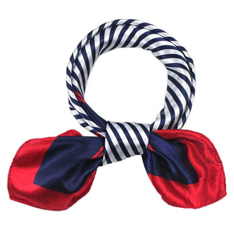 #3533 Enduring Satin Silk Square Scarf Women Four Seasons Occupation Stripe Silk Satin Scarves