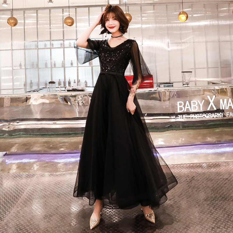 Beauty Emily   Prom   Gowns Black Sequins Bling A-ling Floor Length V-neck Half Sleeves Plus size Customized   Prom     Dresses   2019