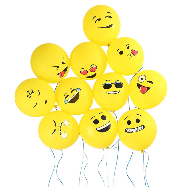 10pcs Lot 12 Inch Emoji Smiley Face Balloons Latex Wedding Decoration Inflatable Air Balls Happy Birthday Party Supplies Balloon