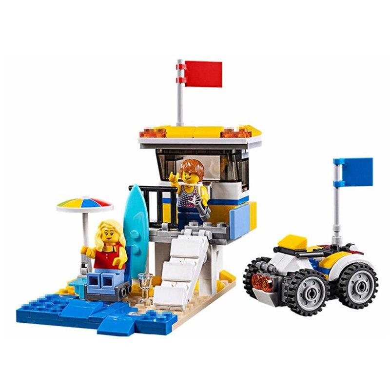 424pcs Diy Creative Series The Sunshine Surfer Van Set Blocks Bricks Christmas Toys For Children Compatible With playmobil gifts