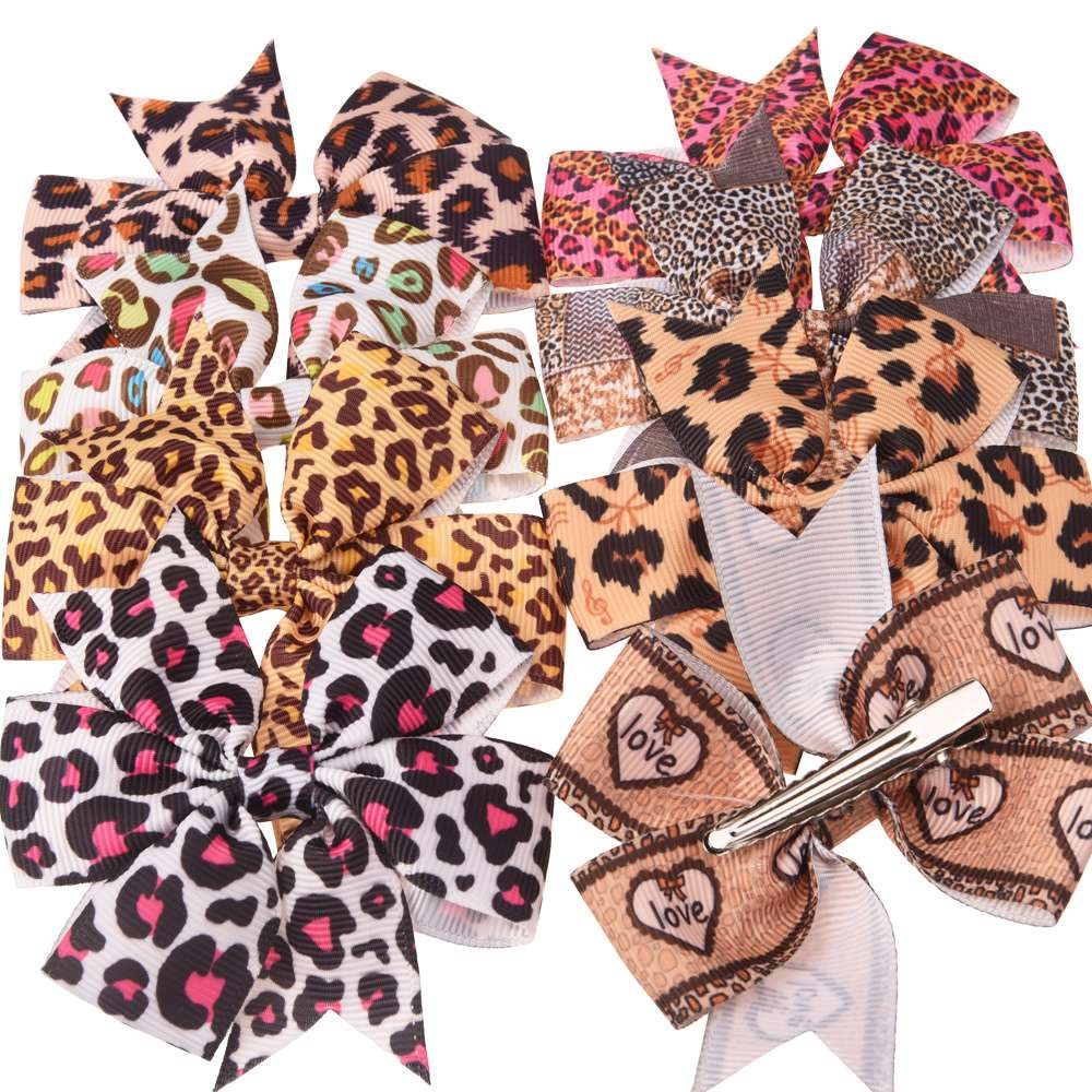 16PCS 3inch Leopard Printed Bows For Hair Zebra Bow Boutique Hair Accessories Flower Headwear Bows Hair Clips Or No Clip
