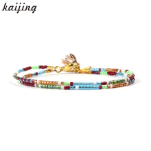 KaIJING Jewelry Top Quality 1mm Seed Beads Double Layers Strand Bracelet with Tassel Design Colorful Charm Bracelet For Women