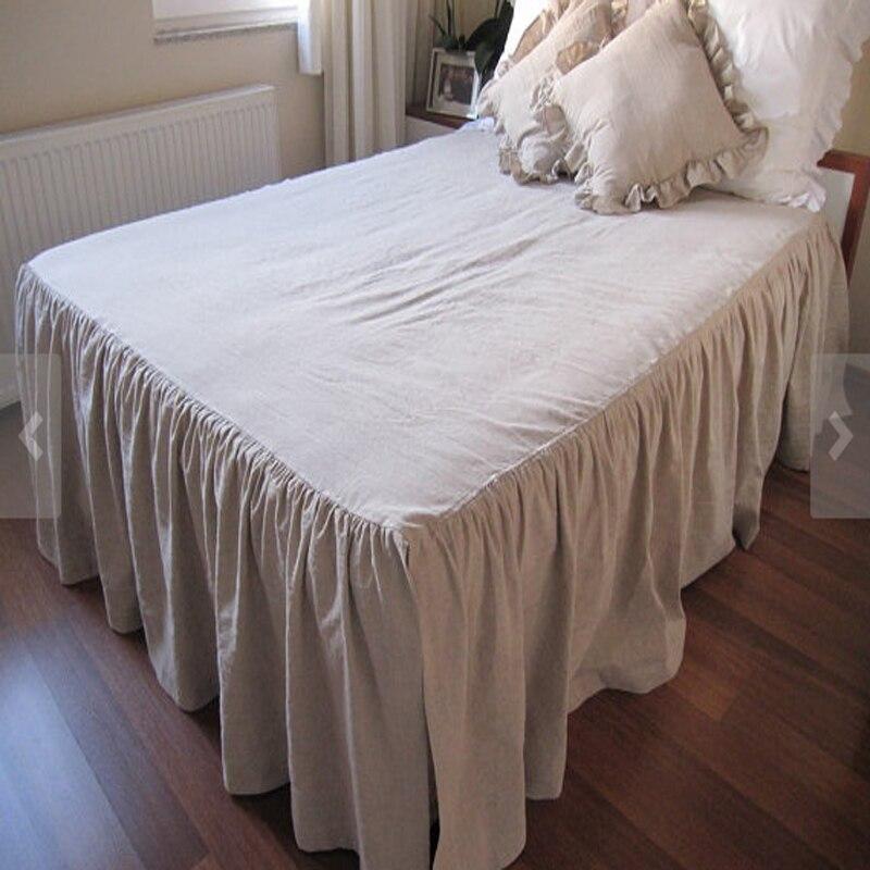 3pcs Ruffled White Linen Bedding Set King Size French