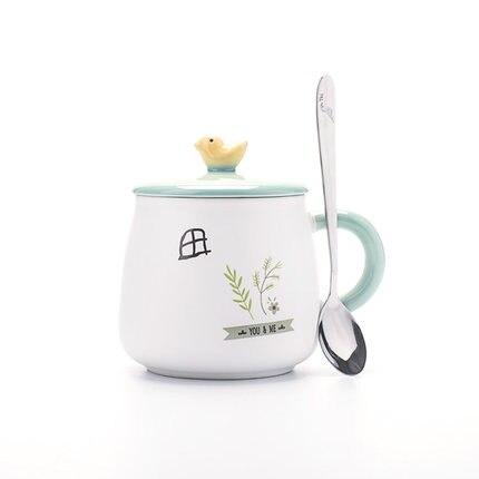 Free Shipping 440ml Simple Creative Ceramic Mug Cute Bird Painted Mugs With Lid Spoon Office Couples Drinks Coffee Mug Gift