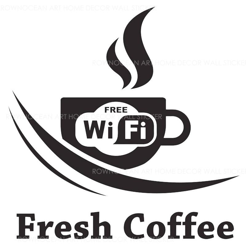 White Vinyl Sticker Decal 150mm Free WIFI Coffee Cafe Shop Door Window Sign