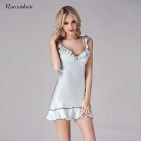 100% Genuine Silk Nightgowns Female Sexy Silk Sleepwear Women Summer Sling Sleeping Dress Sweet Princess Nightdress