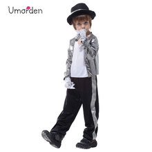 Umorden Kids Boys Pop Singer Cosplay Costume Halloween New Year Masquerade Billie Jean Superstar Stage Costumes for Boy