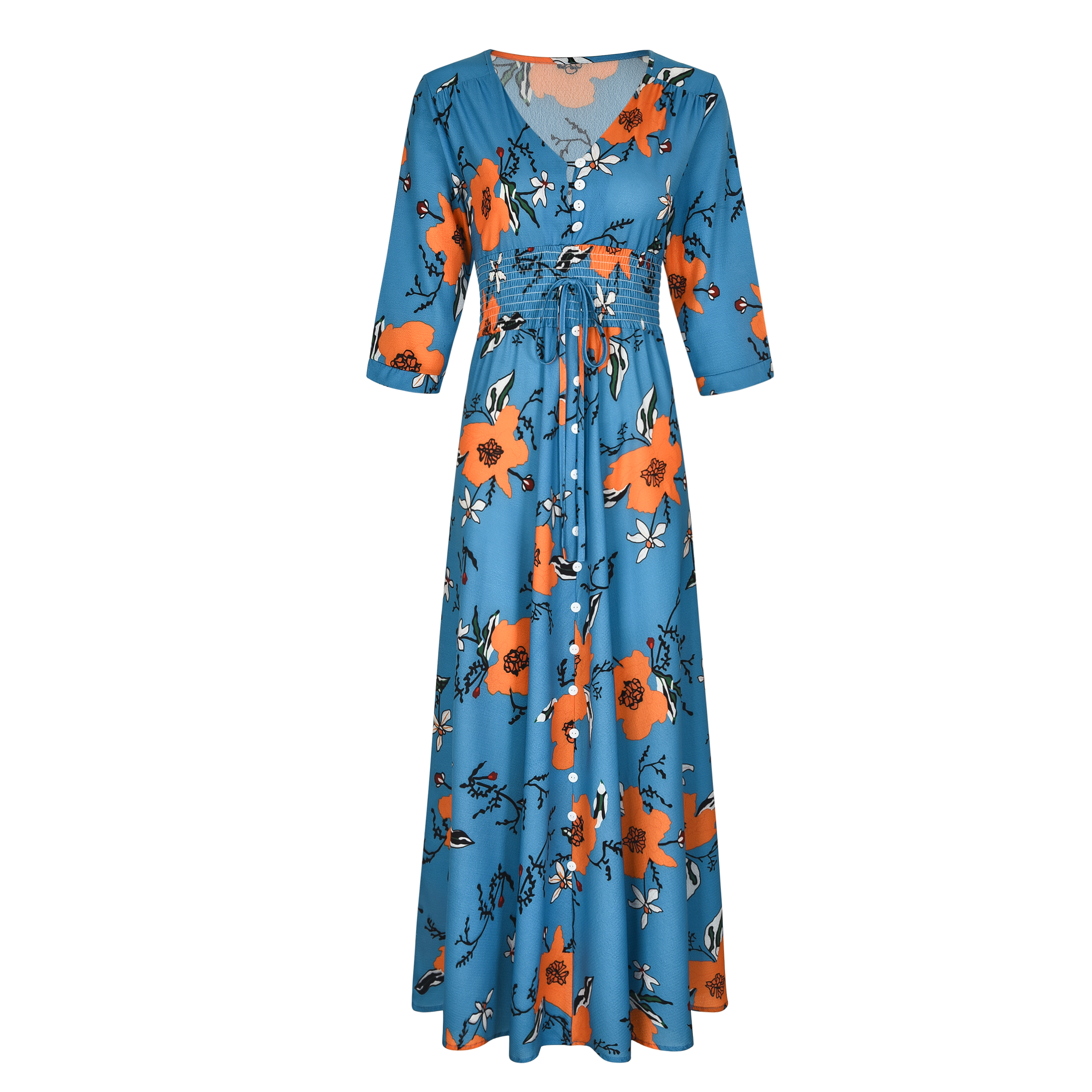 VZFF Button Front Allover Print V Neck Dress Women 2019 Posh Bohemian Spring Autumn A Line Large Swing Chiffon Maxi Dress in Dresses from Women 39 s Clothing