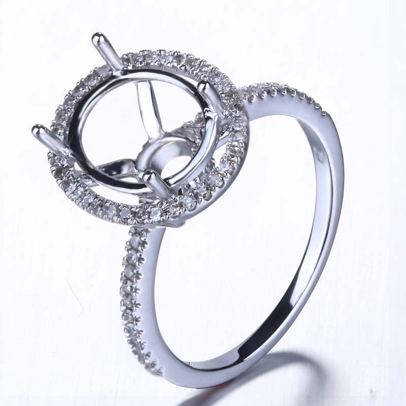 10k White Gold Diamond Engagement Wedding Semi Mount Ring 7X9mm Oval Prong Set ...