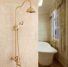 Bathroom Shower Set Brass Gold Wall Mounted Shower Faucet Set 8″ Water Saving Shower Head Nozzle Aerator Bath & Shower Set