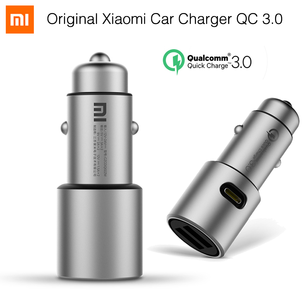 Original Xiaomi Car Charger Quick Charge 3.0 Xiomi 5V/3A Dual USB 9V/2A 12V/1.5A for Android iOS for iPhone 7 Samsung Xiaomi 2pcs 5v 2a usb cable charger for synapse android 4 tablet pc 7 screen hx 168 flyer apad viii cyclone voyager