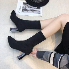 Women Ankle Boots Pointed Toe Elastic Soft Sock Boots Thick Heels High Heels Shoes Autumn Winter Female Socks Boots 777 недорго, оригинальная цена