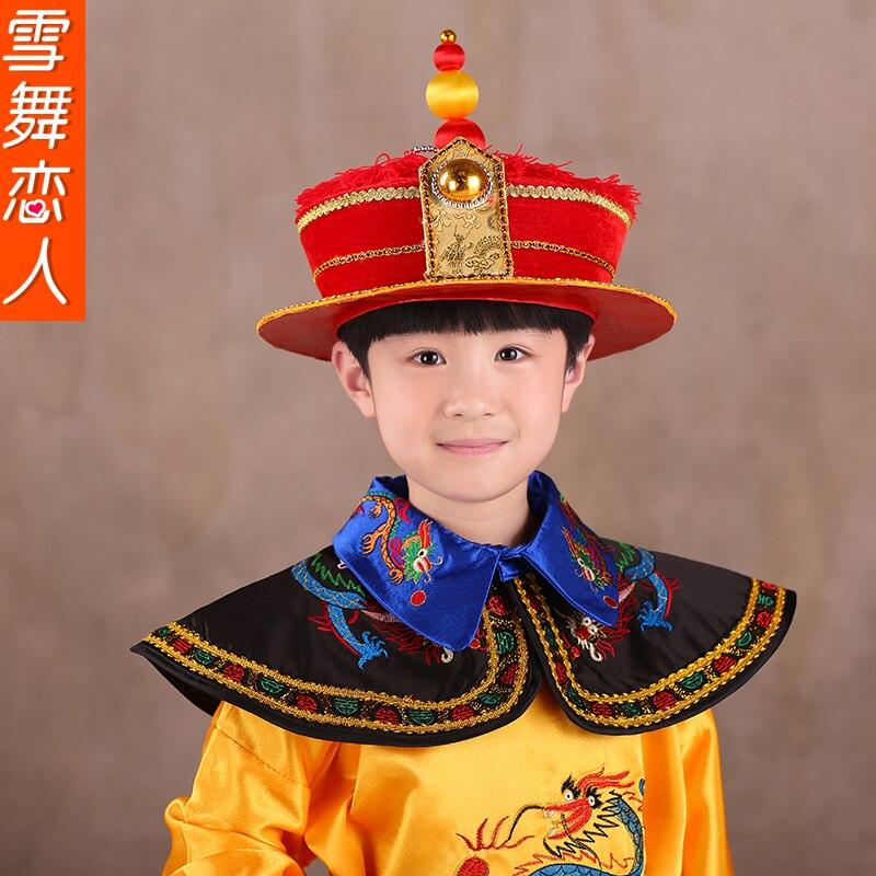 kanak-kanak Qing emperor Boy Costume pakaian cosplay peringkat set - Pakaian kebangsaan - Foto 5