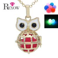 Aromatherapy Jewelry Gold Big Eye Owl Hollow Cage Locket Glow Beads Pendant Fragrance Essential Oil Diffuser