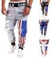 Calças da Carga dos homens Calça Casual de Multi Bolso Militares Homens Ao Ar Livre de Alta Qualidade Calças Compridas Geral A bandeira Americana impressão