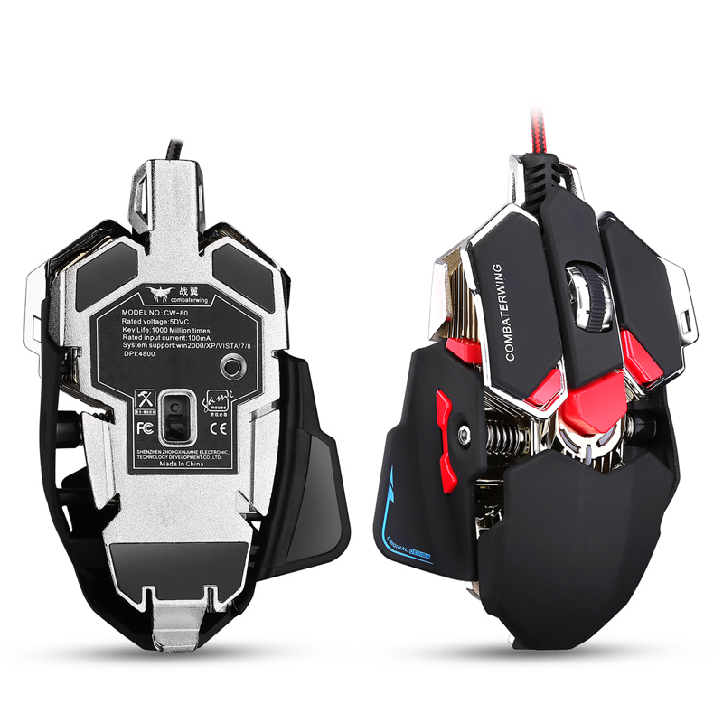 Combaterwing 4800 DPI Optical USB Wired Professional Gaming Mouse Programmable 10 Buttons RGB Breathing LED Mice