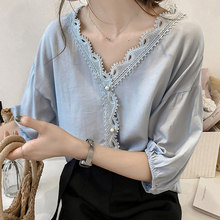 1e542eeb2 Women Lace Blouse Shirt Plus Size 4xl Crochet Womens Tops And Blouses  Pearls Half Sleeve Off Shoulder Deep V Loose Blusas Mujer