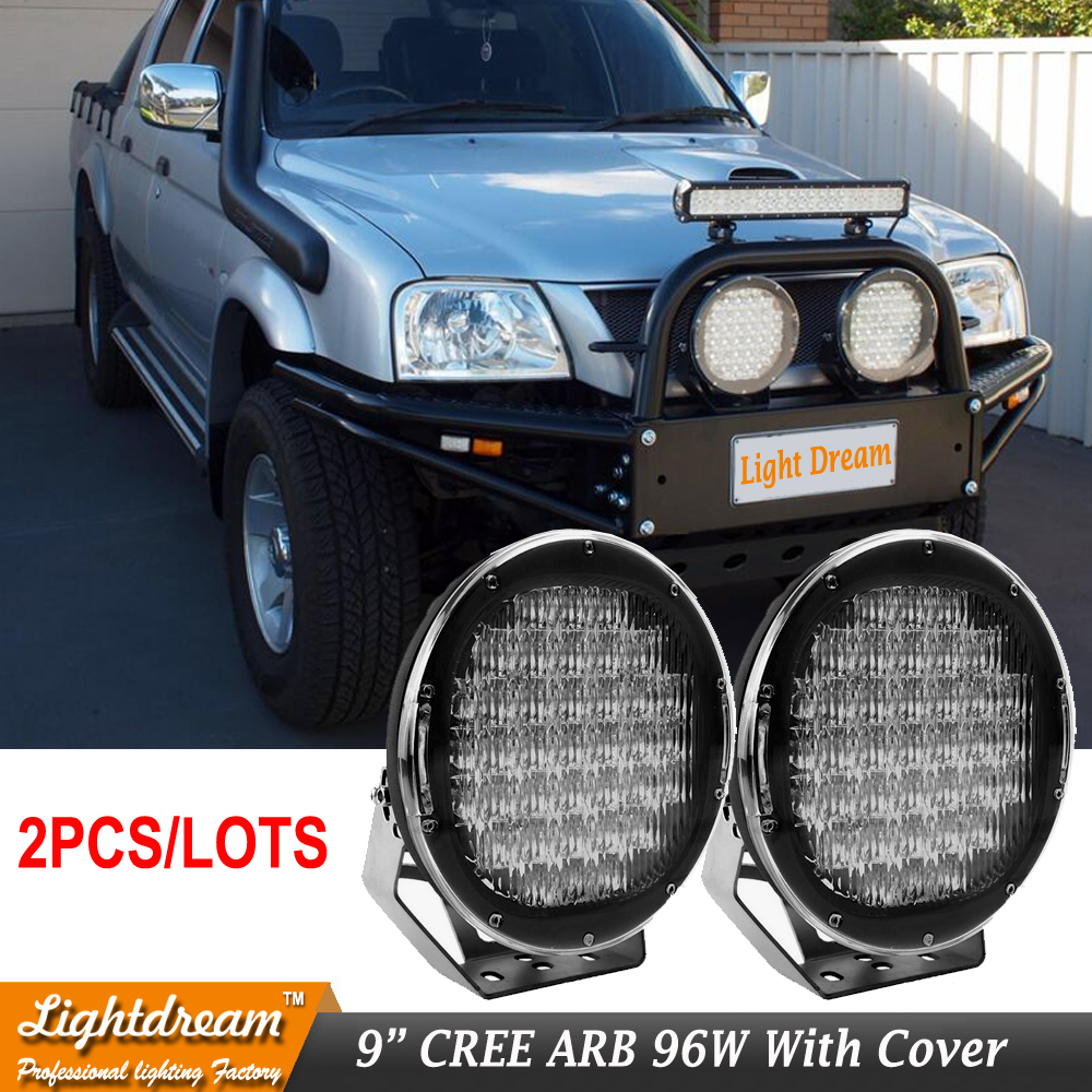 pair of 9inch 96w Black Red Round LED Work Light Spot Flood Driving Off road for Offroad Truck Car ATV SUV Boat 4wd ATV 12V lamp 7inch 45w led cannon lights round spot driving spotlight work lamp with focused beam for suv 4wd off road truck suv atv offroad