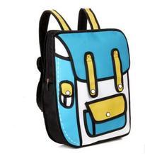2016 New Fashion 2D Bags Novelty Back To School Bag 3D Drawing Cartoon Comic Handbag Lady's Shoulder Bag Messenger 6 Color Gifts