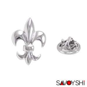 SAVOYSHI Classic Silver Flower Shape Men Lapel Pin Brooches Pins Fine Gift for Mens Brooches Collar Party Engagement Jewelry