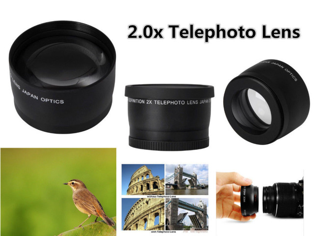 49mm 2X magnification Telephoto Lens for Canon EOS M5 M6 M50 M10 M100 M200 camera with 15 45mm Lens