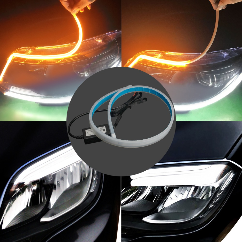 2Pcs 60cm LED Strip Light Waterproof Slim Flexible Turn Signal DRL Running Light Yellow Flowing Daytime Running Lights 12V 2pcs 30cm drl 12v 3colors white blue red flexible soft tears strip daytime running light with yellow turning signal light