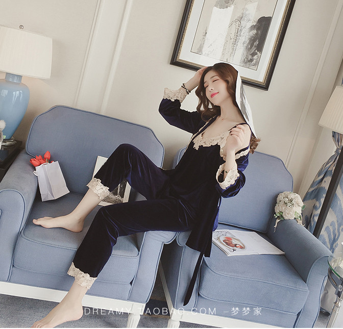 Women pajamas set lace summer spring 3 pieces sets elegant lady korea style female sleeping cloth full sleeve plus size ouc1735