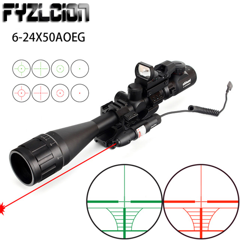 Caça 6-24x50 AOEG Retículo Rangefinder Reticle Rifle Scope com Holográfico 4 Combo Riflescope Mira Laser Verde Vermelho