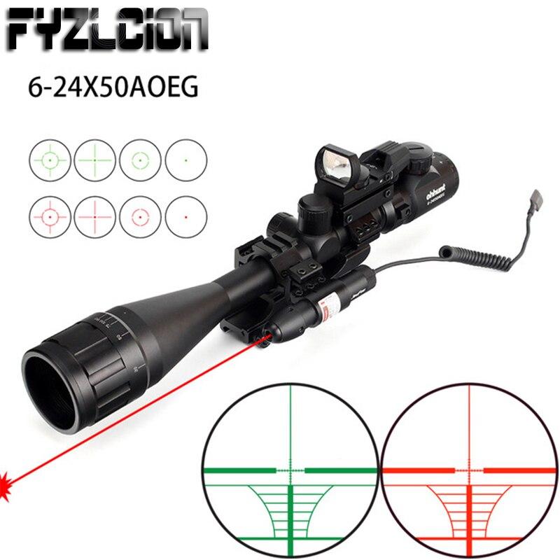 Chasse 6-24x50 AOEG télémètre réticule portée de fusil avec holographique 4 réticule vue rouge vert Laser Combo lunette de visée