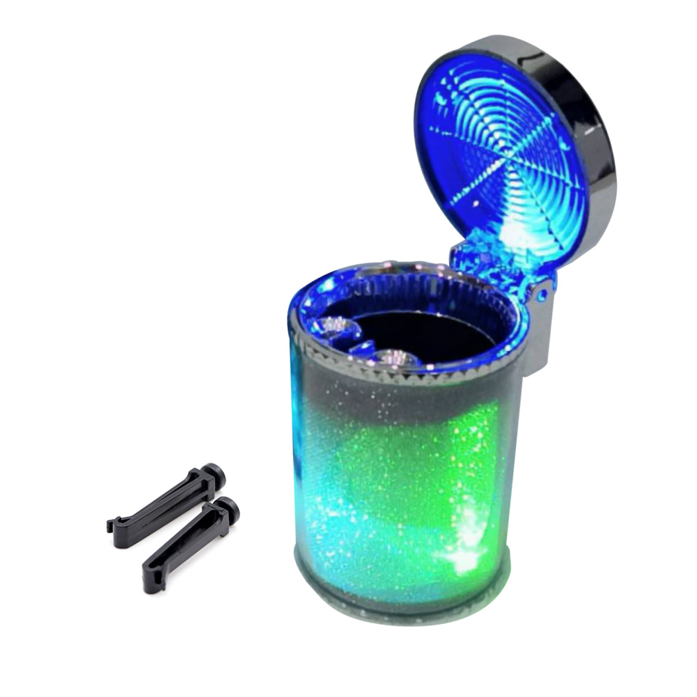 Car Blue LED Light Indicator Cigarette Ashtray Smokeless Cylinder Bin Holder in Car Ashtray from Automobiles Motorcycles