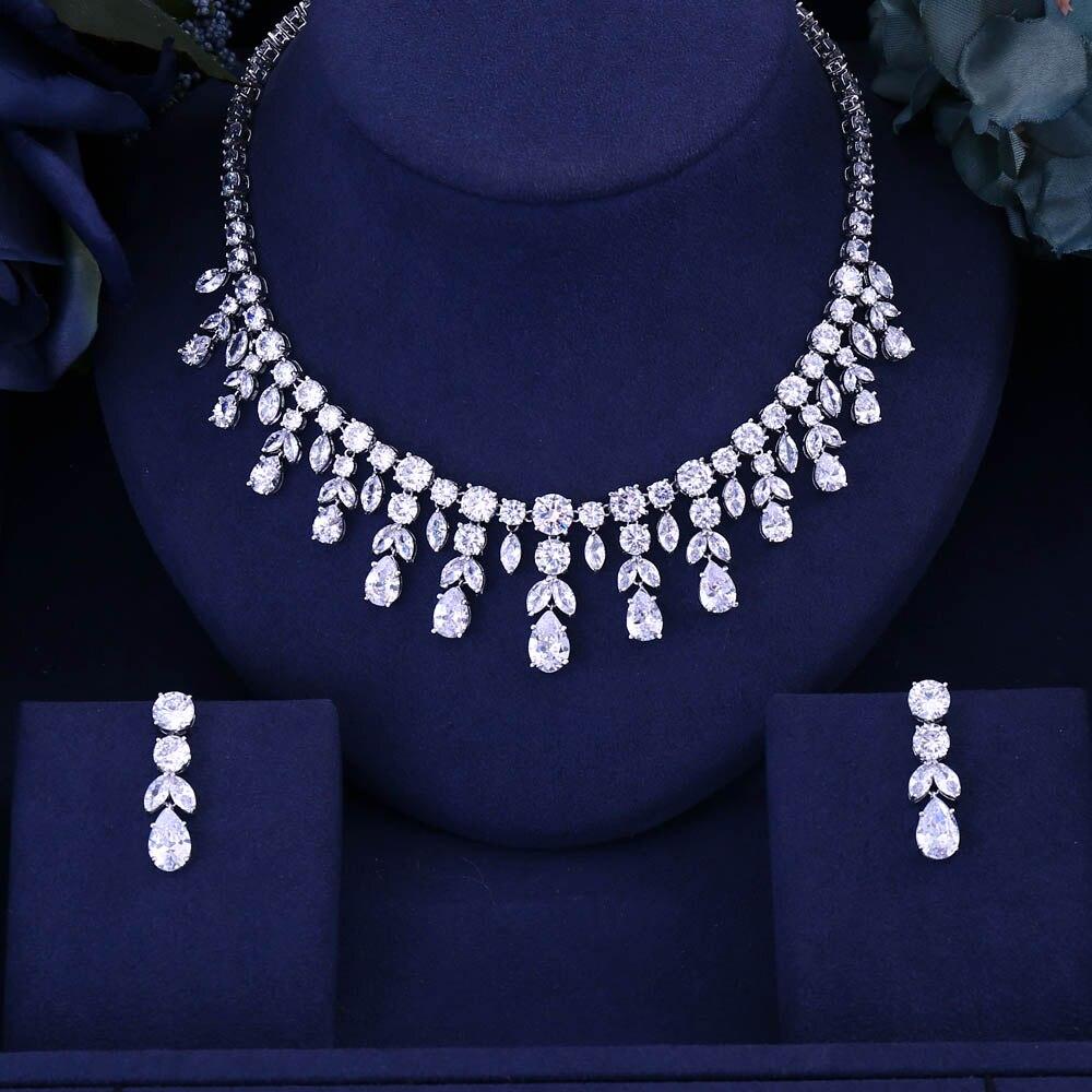 Janekelly Earring Necklace Jewelry Wedding Bridal-Dress-Accessories Cubic-Zircon Dinner