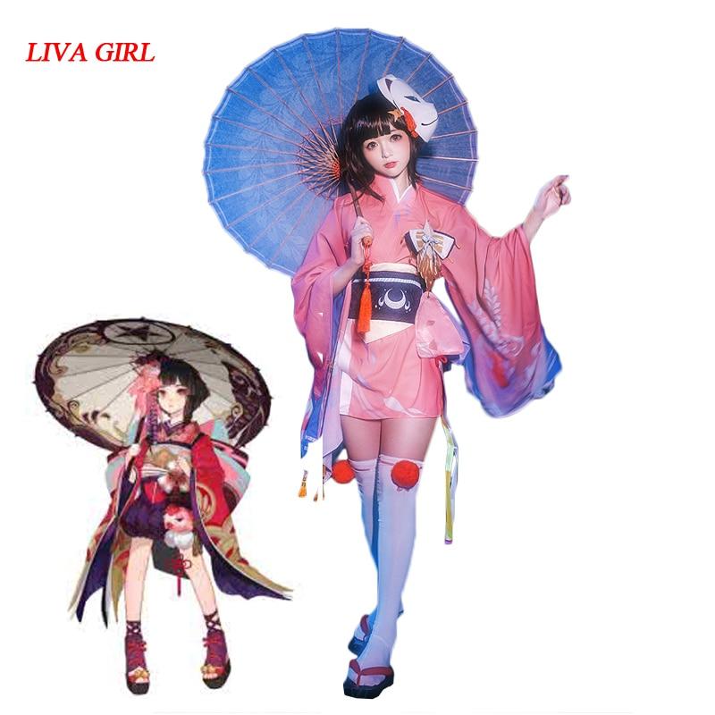 LIVA GIRL 2018 New Anime Game Onmyoji Kagura Cosplay Summer New Skin Sakura Kimono Gold Fish Dress