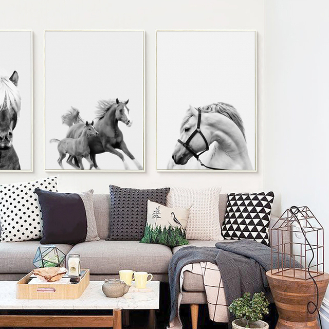 07G Abstract Gray Horse Photography Portrait A4 A3 Canvas Art Painting Print Poster Picture Living Room
