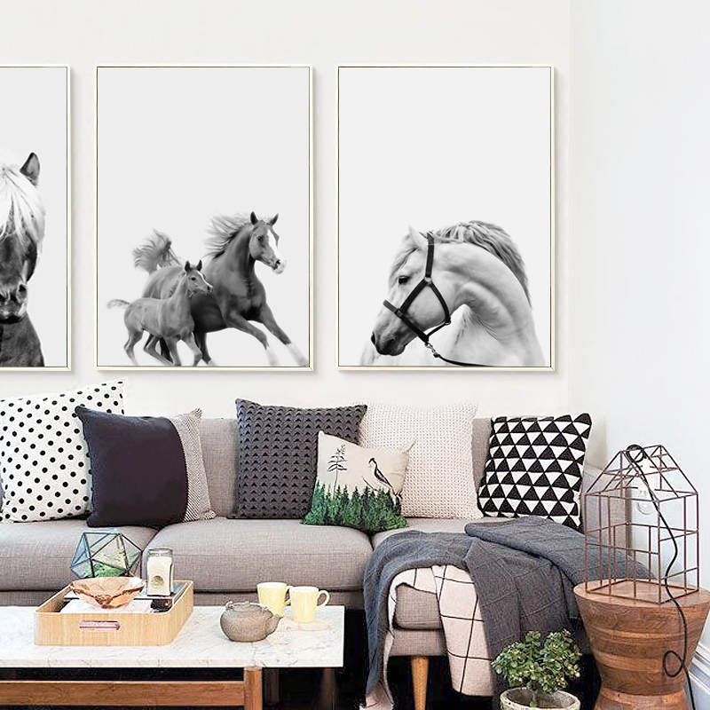 Popigist Abstract Gray Horse Photography Portrait A4 Canvas Art Painting Print Poster Picture Living Room Home