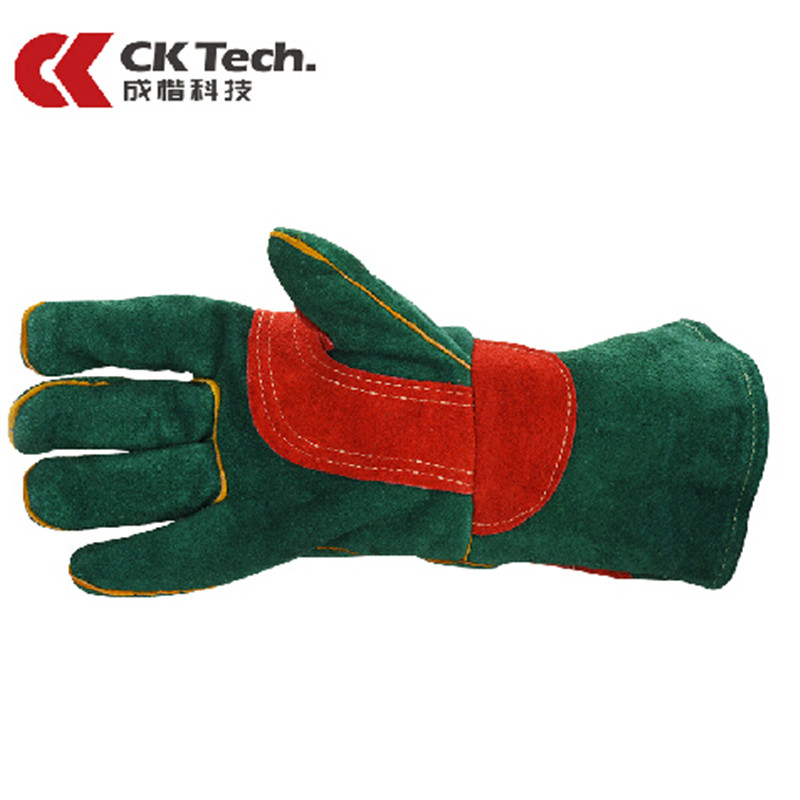CK Tech Heat Resisting Leather Welder's Safety Gloves TIG MIG Grain Cow Leather Welding Gloves Work Wear-resisting Glove 3201 leather safety glove deluxe tig mig leather welding glove comfoflex leather driver work glove