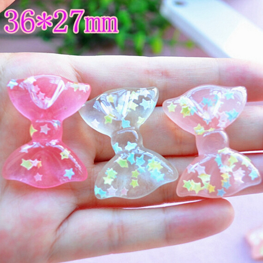 20pcs/Lot Mix Colors 10 Design Cabochons Botoes Flat Back Resin Glitter Pastel Confetti Bow Resin For Girls DIY Phone Decoration