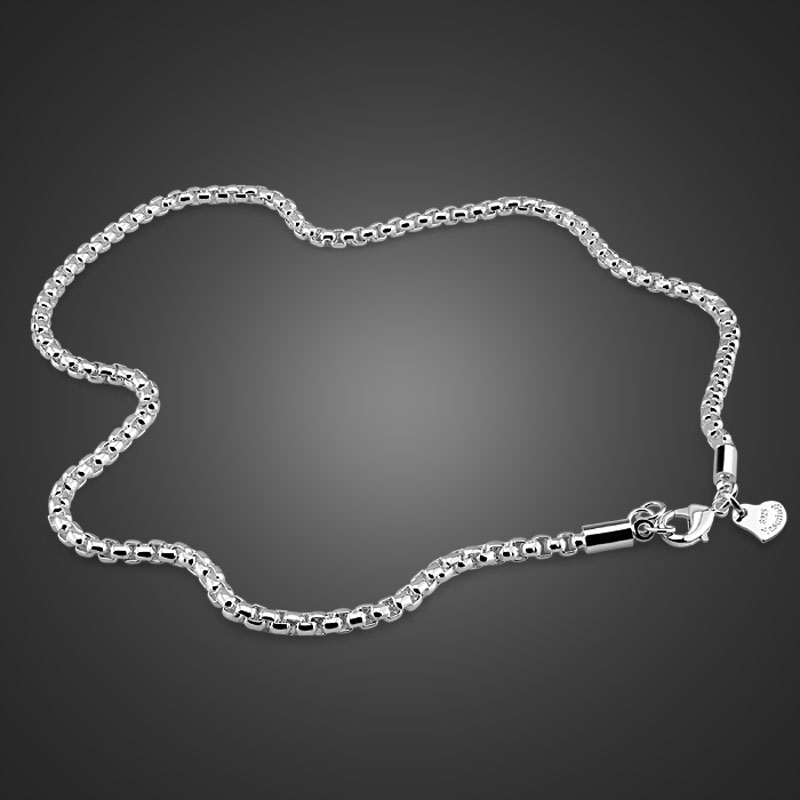 Fashion Sterling Silver Male Jewelry Solid 925 Silver 3MM 51cm-76cm Necklace High Quality Sterling Silver Chain for Men / Boys high quality 2017 long bezel cz station high quality 925 sterling silver 85cm 102cm silver chain statement necklace