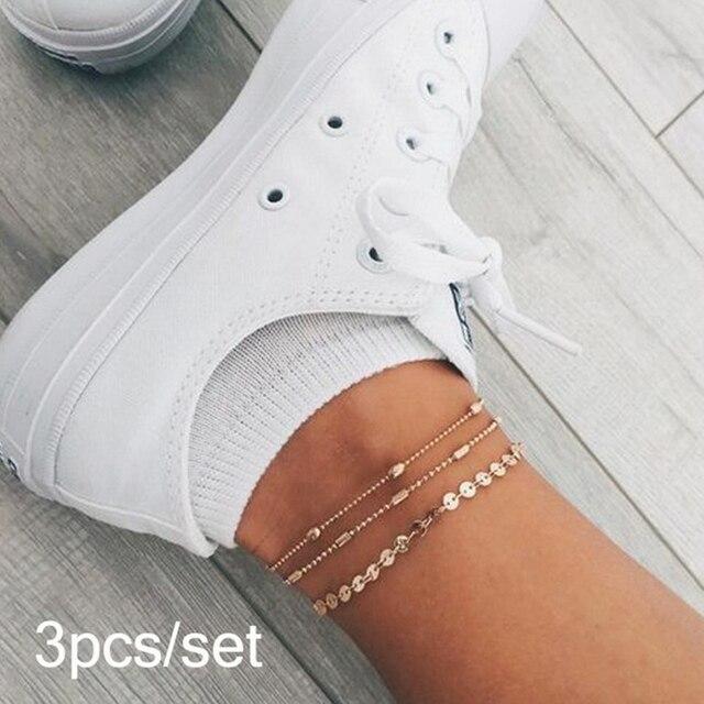 ボヘミアン多層女性のファッションスパンコールアンクレットブレスレット脚に夏ビーチアンクレットセット女性の足のジュエリー